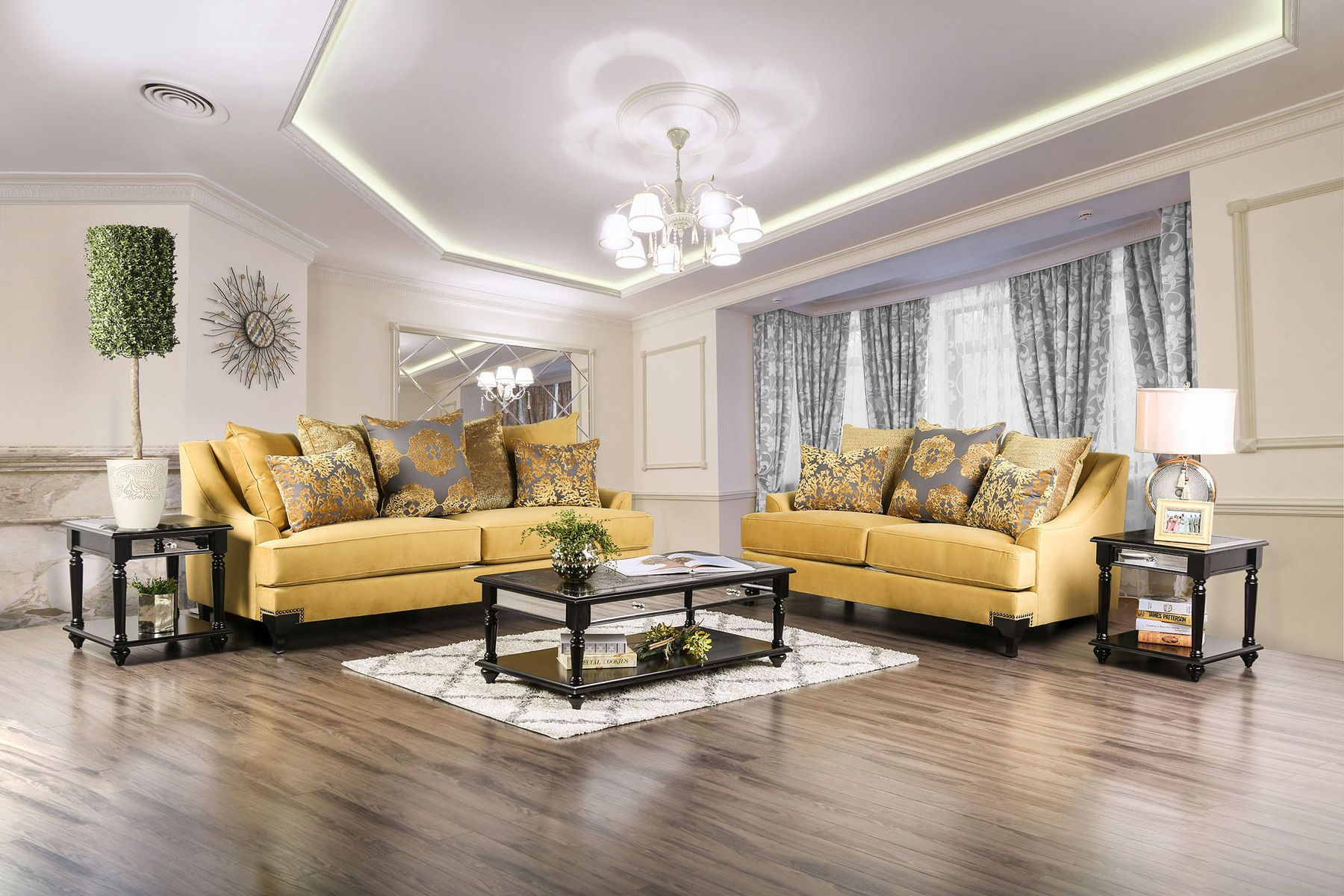 Viscontti Gold Sofa In 2020 Gold Sofa Living Room Sets Living