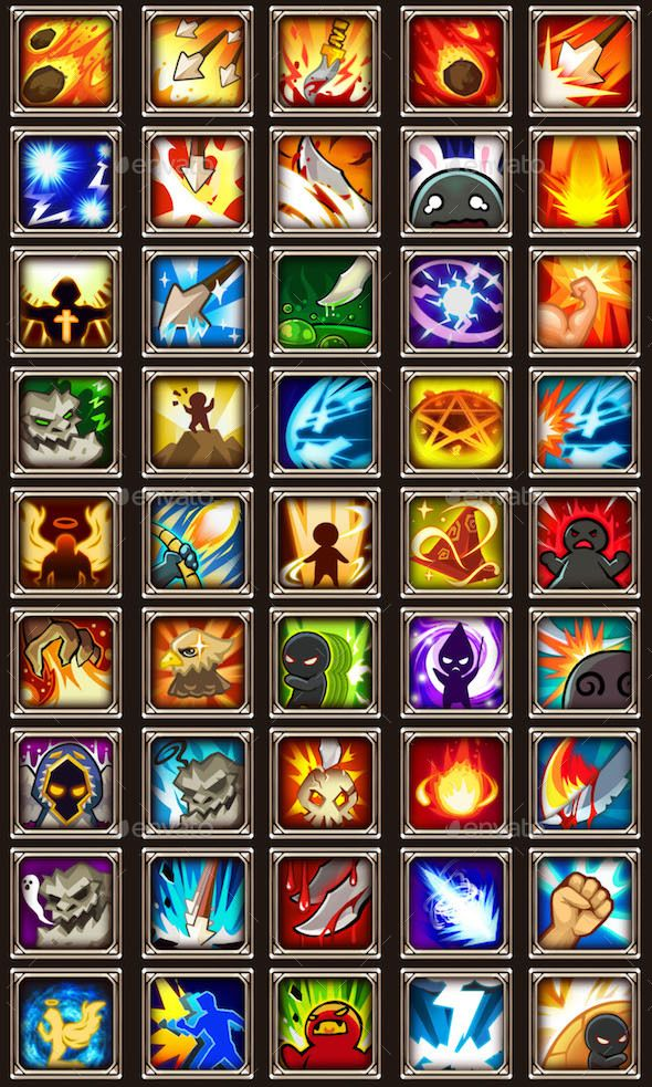 45 RPG Game Skill Icons RPG, Icons and Free game assets