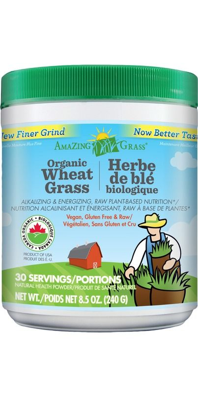 Amazing Grass Organic Wheat Grass Powder contains 100% organic, whole leaf wheat grass, one of the m
