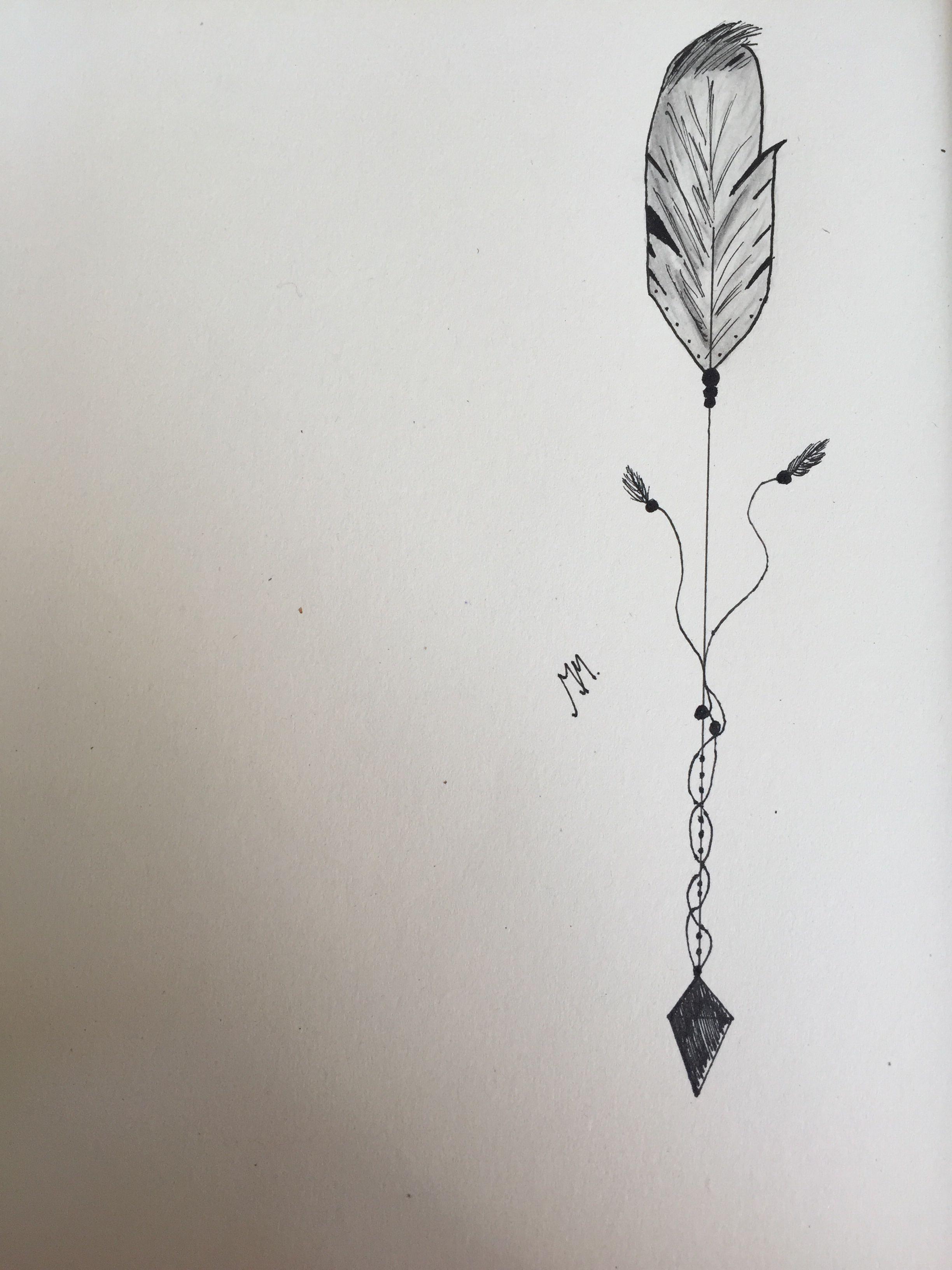 arrow feather tattoo idea drawned tattoo designs