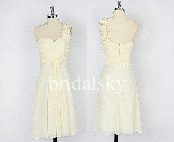 Short+Cream+One+Shoulder+Bridesmaid+Dresses+by+daviddress+on+Etsy,+$ ...