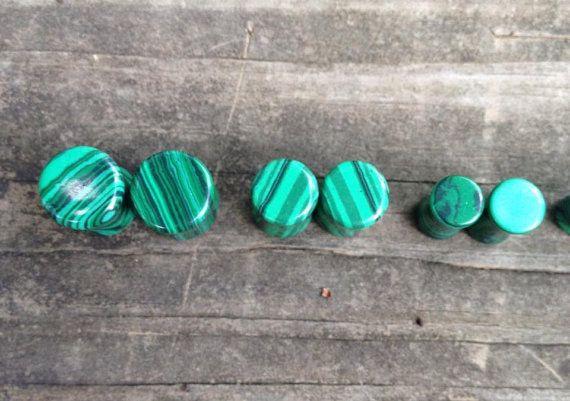 Natural Malachite Stone Plugs by SunshineStell on Etsy