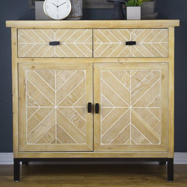 Eliza 2 Drawer 2 Door Accent Cabinet Is Constructed Of Solid Wood In Combination With Mdf It Sits A Top A Black Iron Frame Accent Doors Accent Cabinet Cabinet