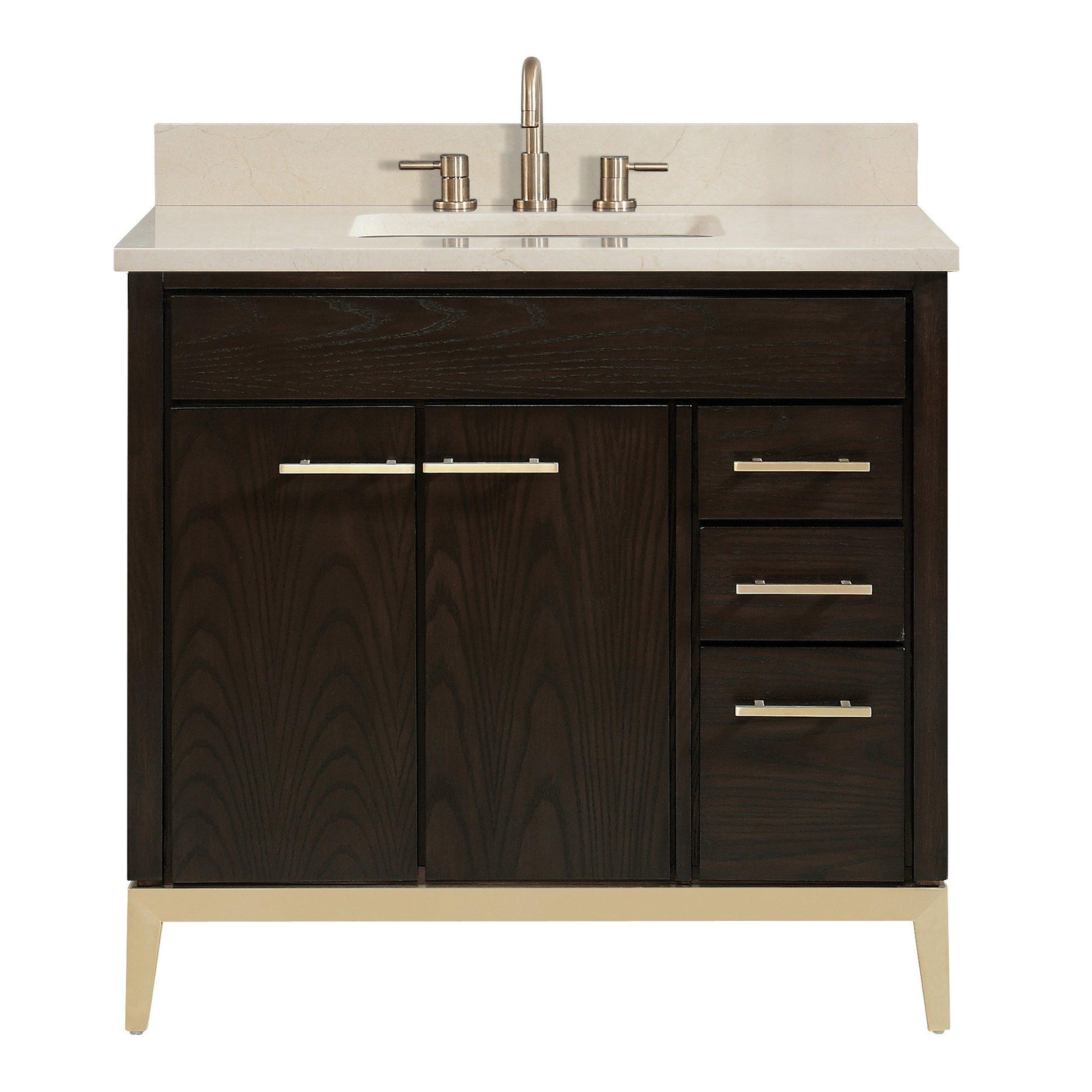 Hepburn 37 In Vanity With Crema Marfil Marble Top Single Bathroom Vanity Marble Vanity Tops Single Sink Bathroom Vanity