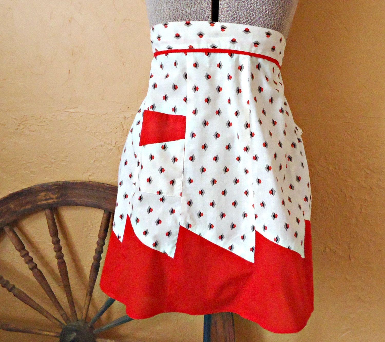 White half apron vintage - Apron Vintage Aprons Half Apron Red And White Floral