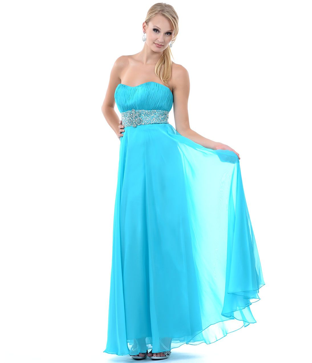 Aqua Ruched Sequin & Gem Strapless Long Dress #uniquevintage | prom ...