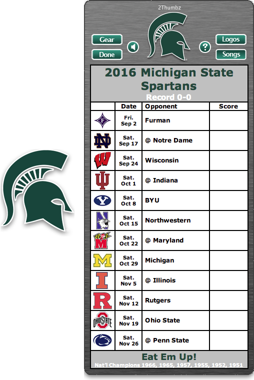 Get your 2016 Michigan State Spartans Football Schedule