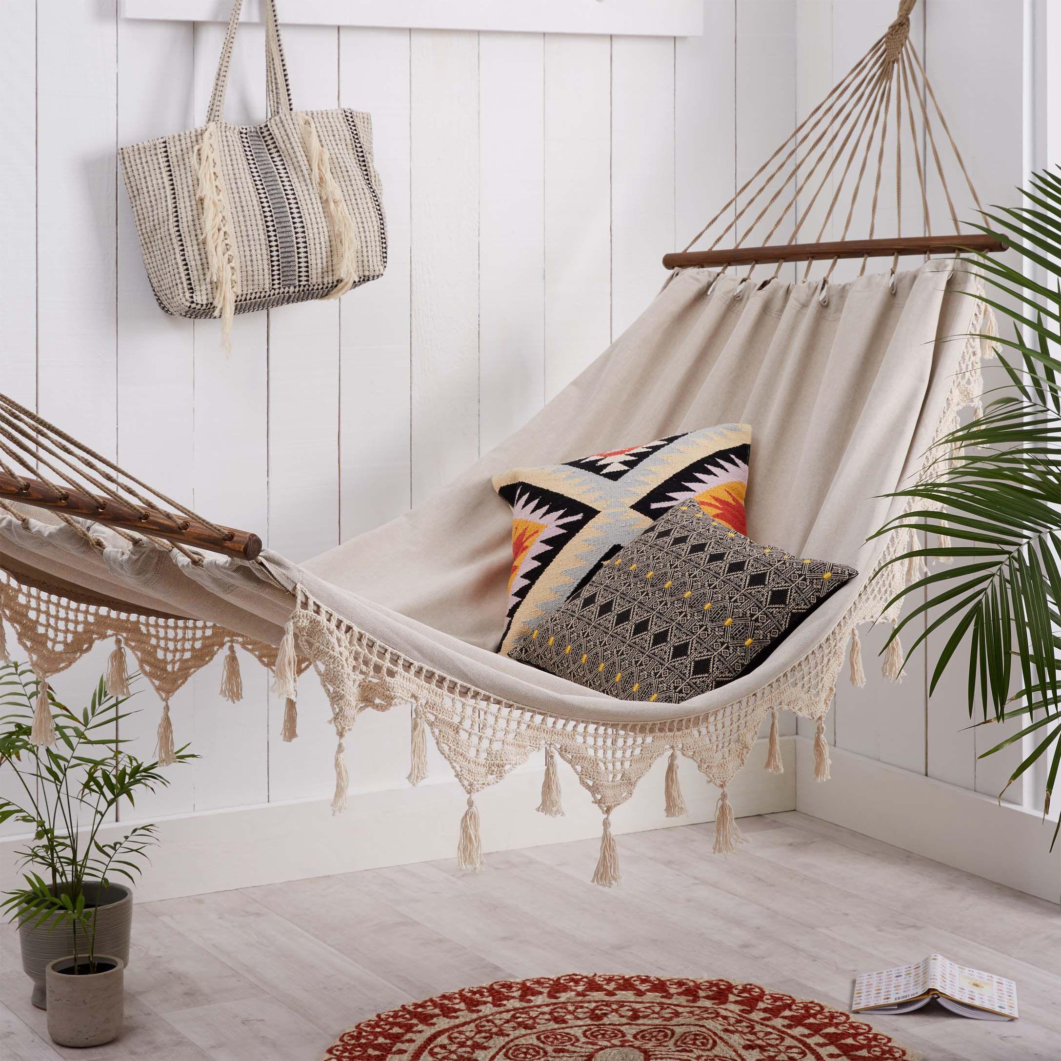 Tassel and crochet trim hammock | Simons #maisonsimons #brooklyn ...