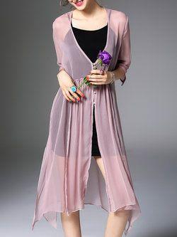 887e2d80b121 Pink 3 4 Sleeve Silk Two Piece Midi Dress
