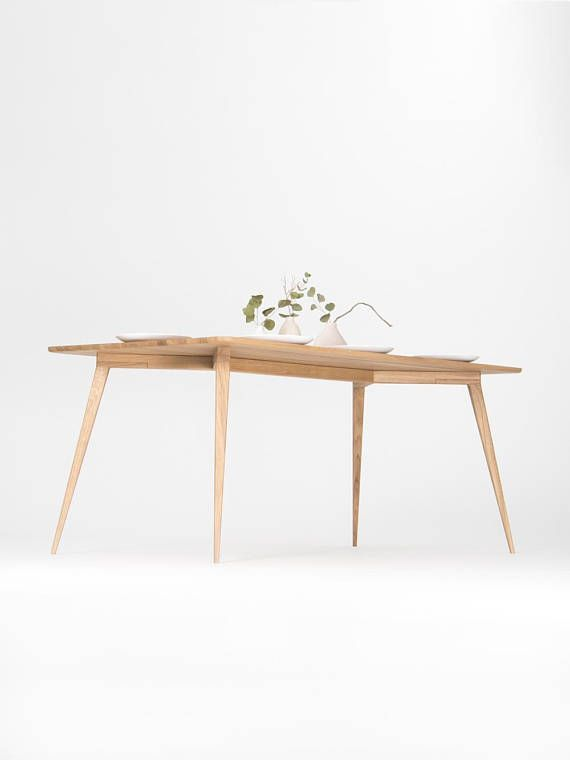 Dining Table Made Of Solid Oak Wood Mid Century Modern Dining - Mid century oak dining table