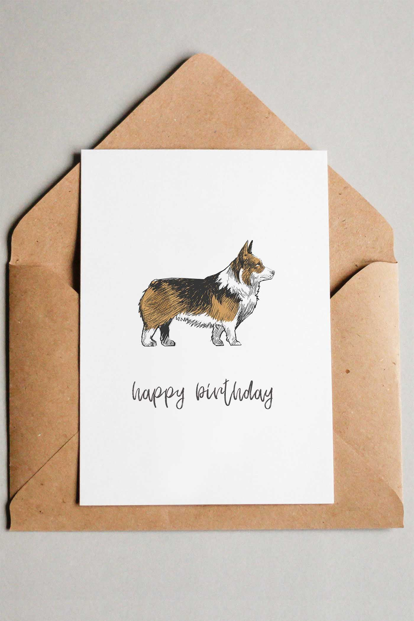Corgi Free Printable Happy Birthday Card