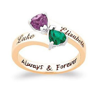 Zales Couples Simulated Birthstone and Diamond Accent Heart Ring in Sterling Silver with 18K Gold Plate (2 Stones and Names) vckEK