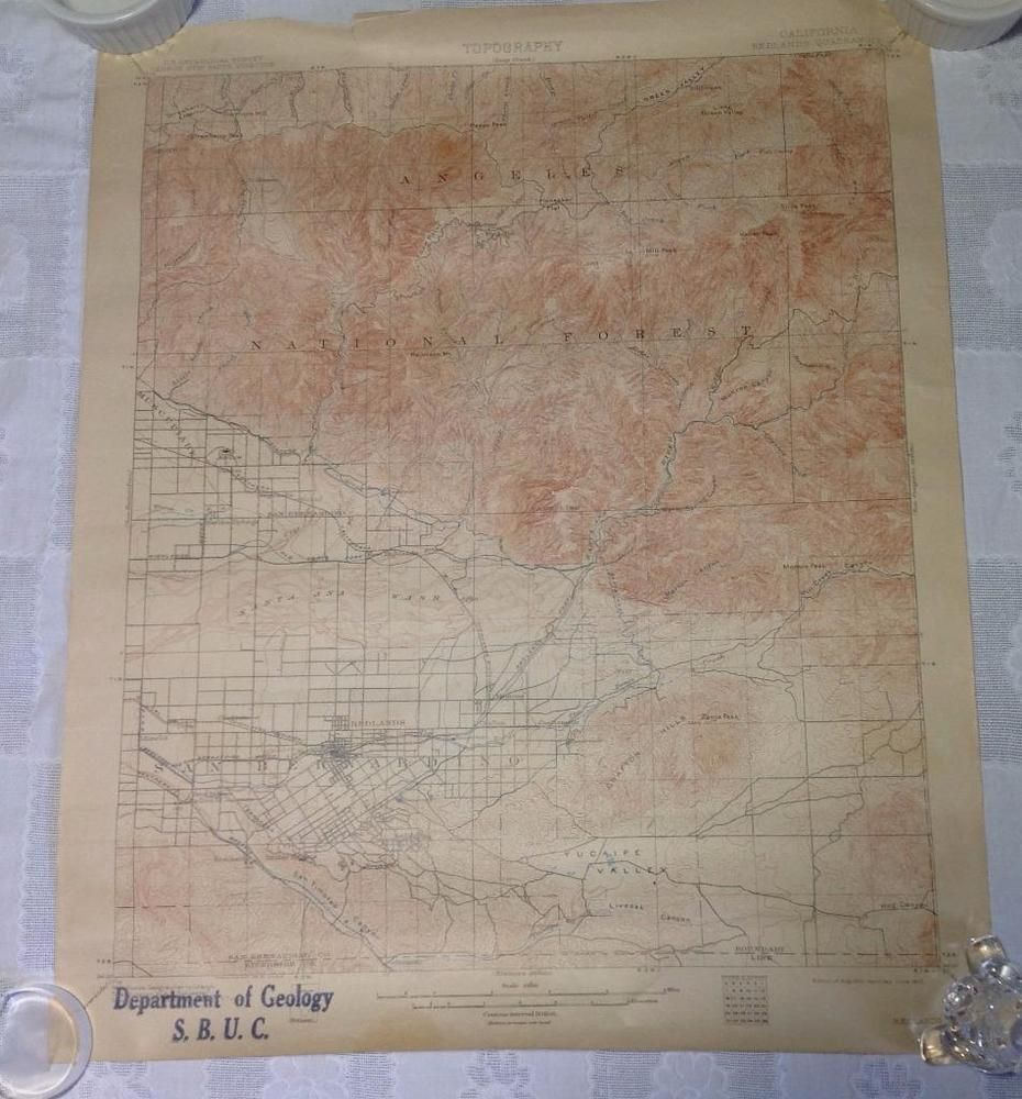 Redlands California Topography Deep Creek Map U S - Us geological survey topographic maps for sale