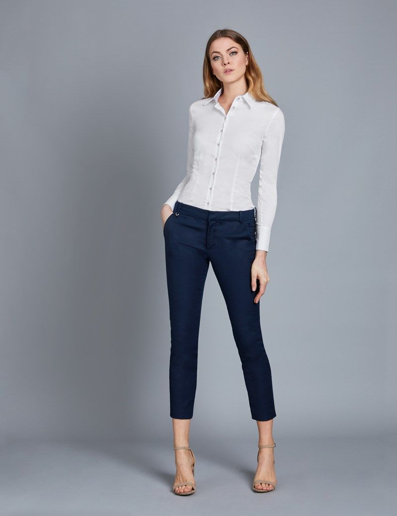 3c156e0851df5 Women s White Fitted Stretch Shirt With Contrast Detail - Single Cuff
