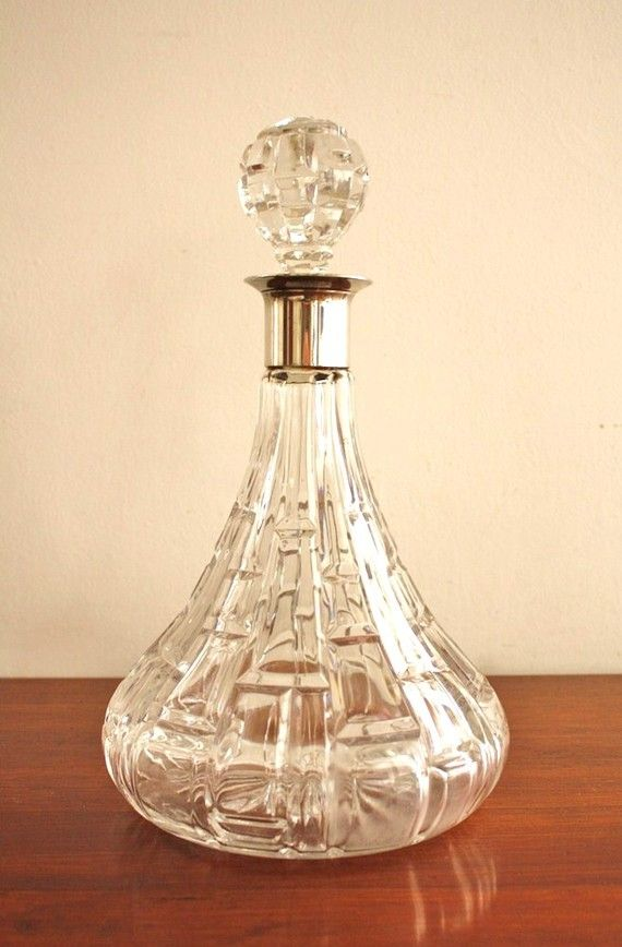 Large Crystal Decanter With Silver Trim Etsy Crystal Decanter Crystal Glassware Decanter