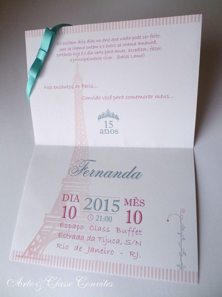 4a6bddcc59f Convite 15 anos Tema Paris