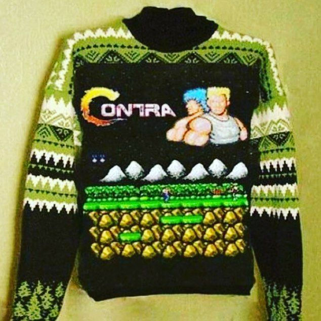 On instagram by willylumplump #nes #microhobbit (o) http://ift.tt/1QgSZBy know the code?  #80s #retro #unlimitedlives I don't know who made this sweater but it is RAD to the max!!!