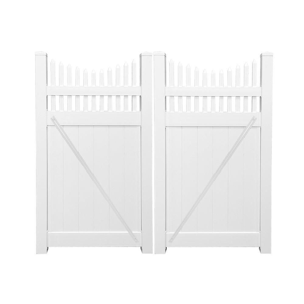 Weatherables Halifax 7 4 Ft W X 5 Ft H White Vinyl Privacy Fence Double Gate Kit Vinyl Privacy Fence Privacy Fence Panels White Vinyl