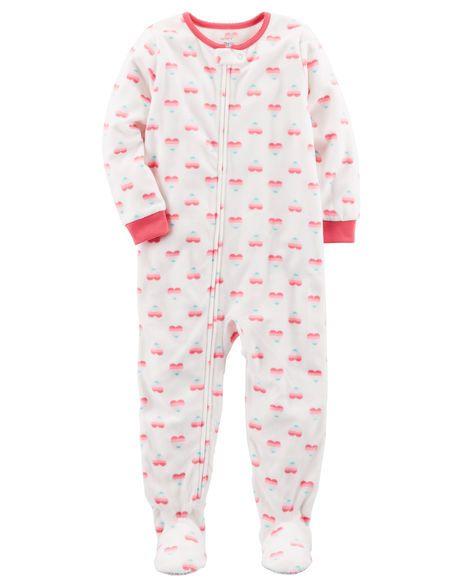 3d04b8f72 1-Piece Heart Fleece PJs