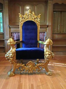 LARGE GOLD U0026 BLUE LIONS HEAD KING CHAIR THRONE LOVESEAT UNIQUE COUCH SOFA