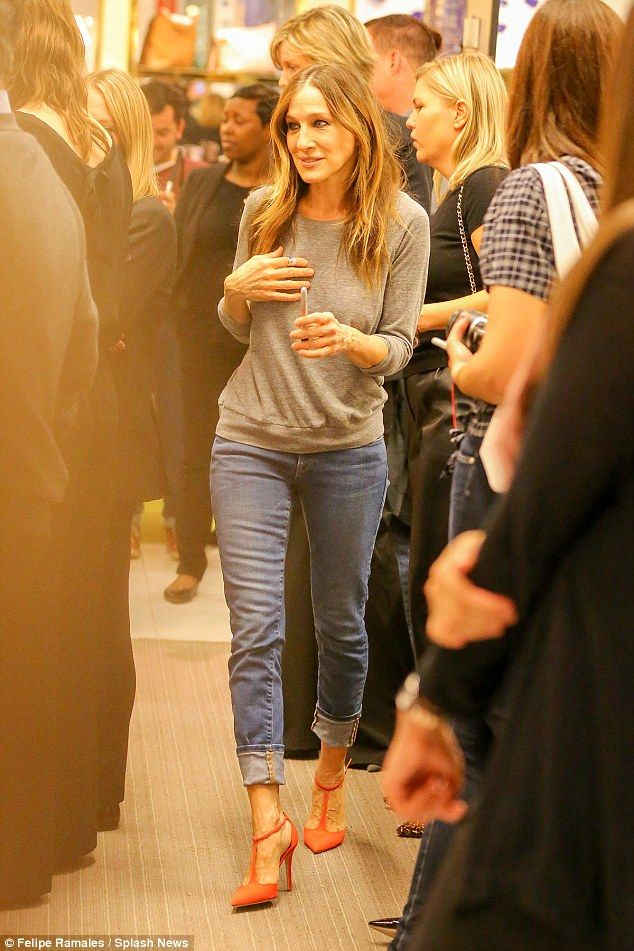 2d9a4bb0045 Natural habitat  Sarah Jessica Parker helped out in Bloomingdale s footwear  department in NYC on Tuesday