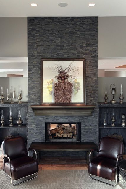 Grey Stone Fireplace Sofa And Stone Fireplace Contemporary