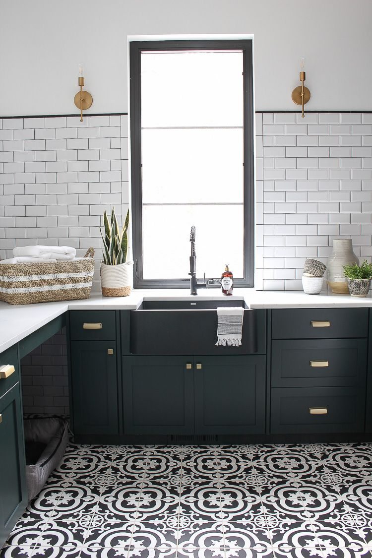 Pratt & Lambert Essex Deep Green.  The Laundry/Dog Room: Dark Green Cabinets Layered On Classic Black + White Design - The House of Silver Lining