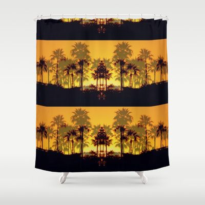 Six Sunsets Shower Curtain by RichCaspian - $68.00 #shower #curtain #homedecor #bathroom #sunset #orange #palmtrees #tropical #showercurtain #pattern