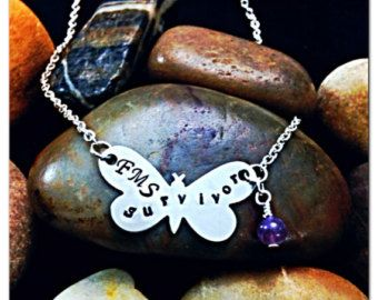 Butterfly Necklace - Fibromyalgia Survivor- Hand Stamped Necklace