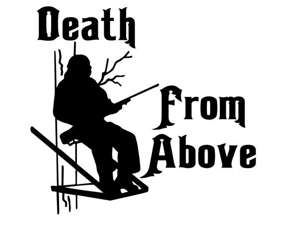 Deer hunting decal rifle hunter sticker death from above decal