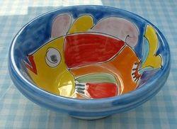 "Schaal ""Lemmo"" 15 cm  ""Pesce""  Webshop Sicilian Ceramica  www.russoenzo.nl"