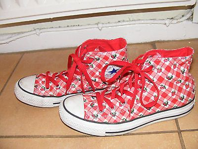Details about Strawberry, Cherry plaid converse all star hi