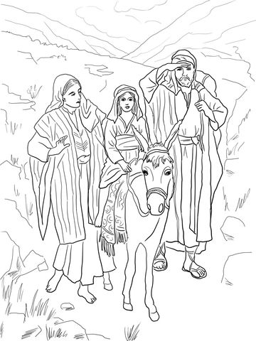Holy Family Returns To Nazareth From Egypt Coloring Page From