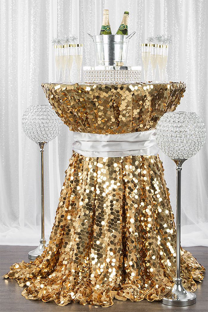 New Year S Cocktail Table With Gold Payette Sequin Tablecloth And