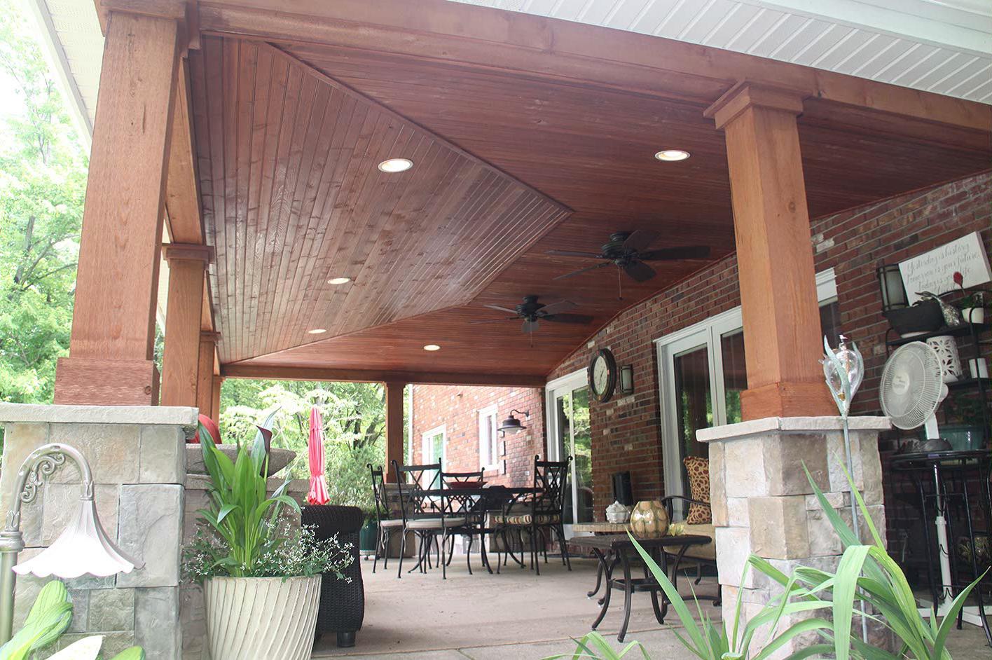 Underside Rustic Patio Patio Roof Deck With Pergola