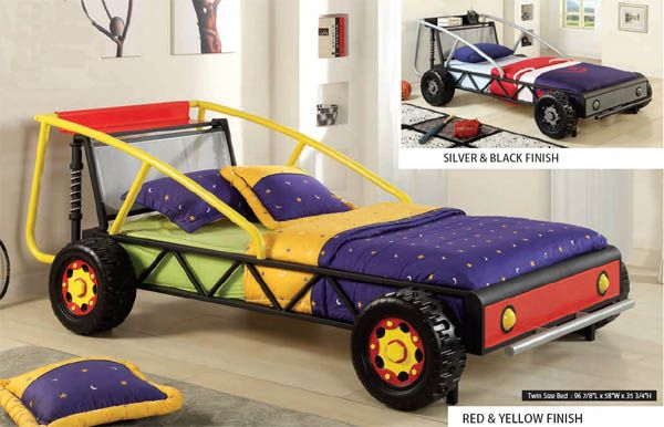 Baja Kids Yellow Red Twin Metal Racing Car Bed Twin Size Bedding Kid Beds Car Bed