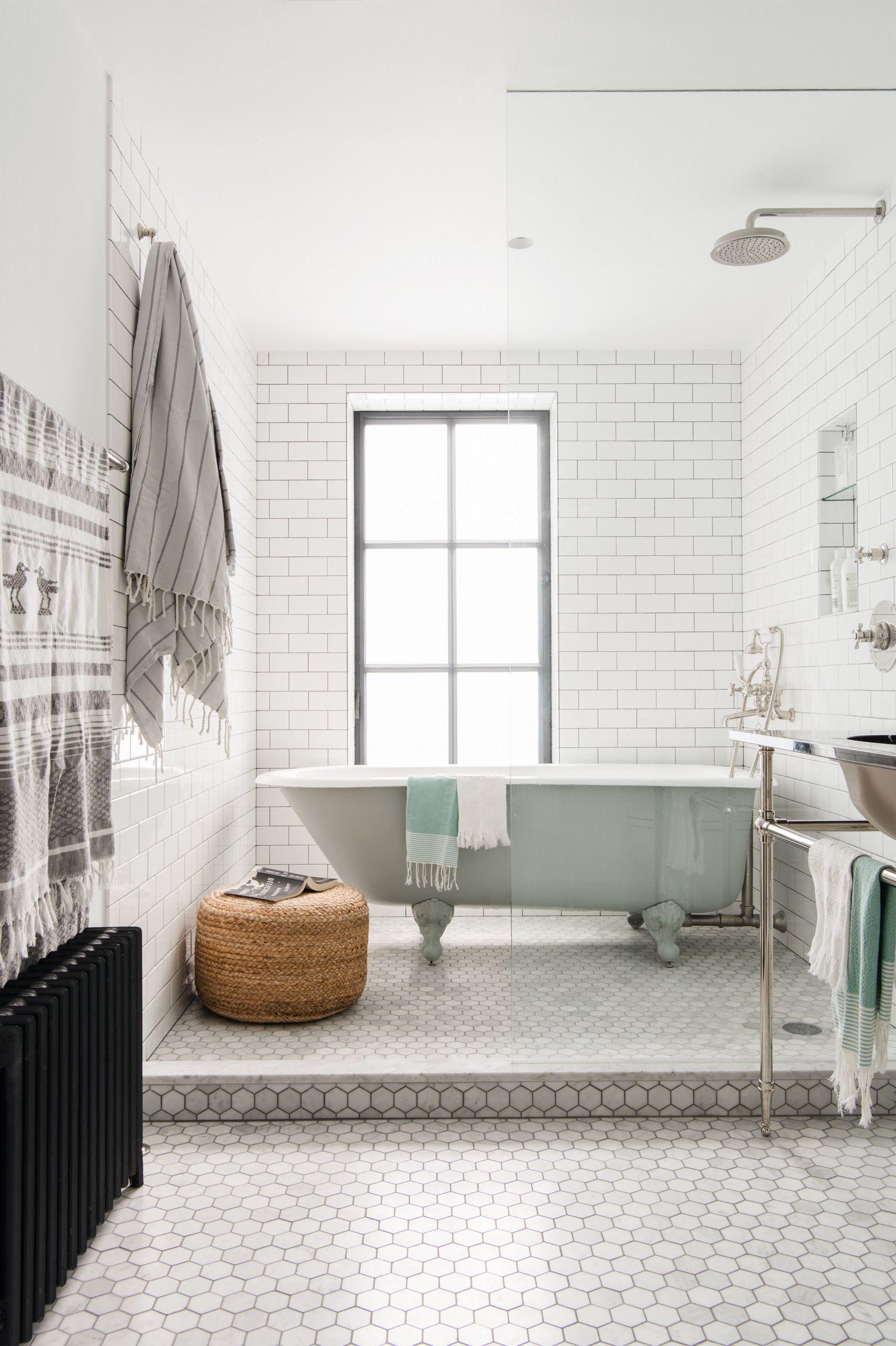 bathroom white subway hex tile brooklyn remodel elizabeth - Bathroom Remodeling Brooklyn