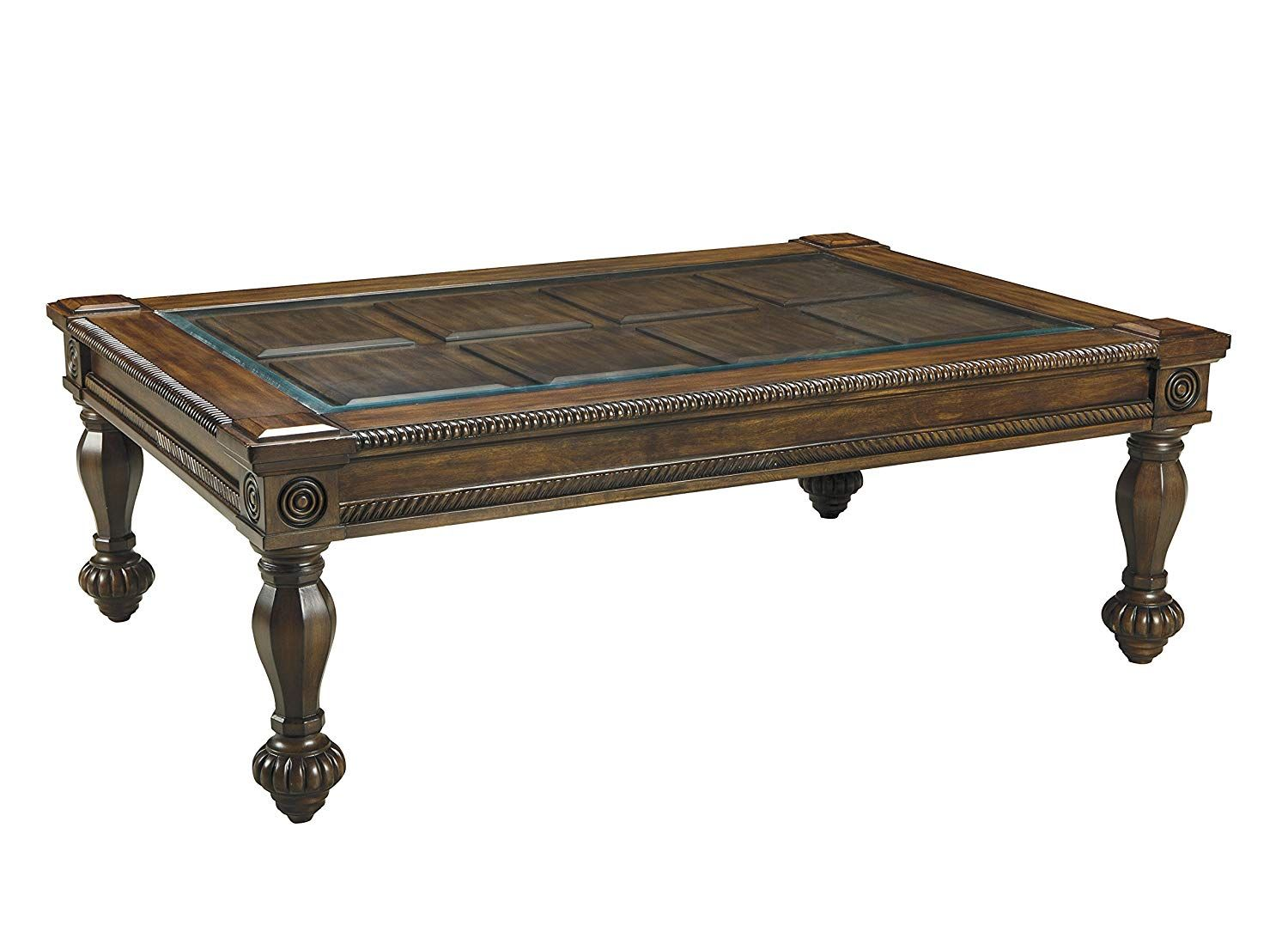 Ashley Furniture Signature Design Mantera Coffee Table Cocktail Height Rustic Style Rectangular Dark Brown With B Coffee Table Table Signature Design [ 1106 x 1500 Pixel ]