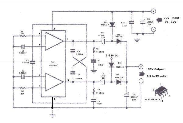 step up converter circuit using tda2822 eleccircuit com power rh pinterest com Off Delay Timer Circuit Diagram Simple Diode Circuit Diagram