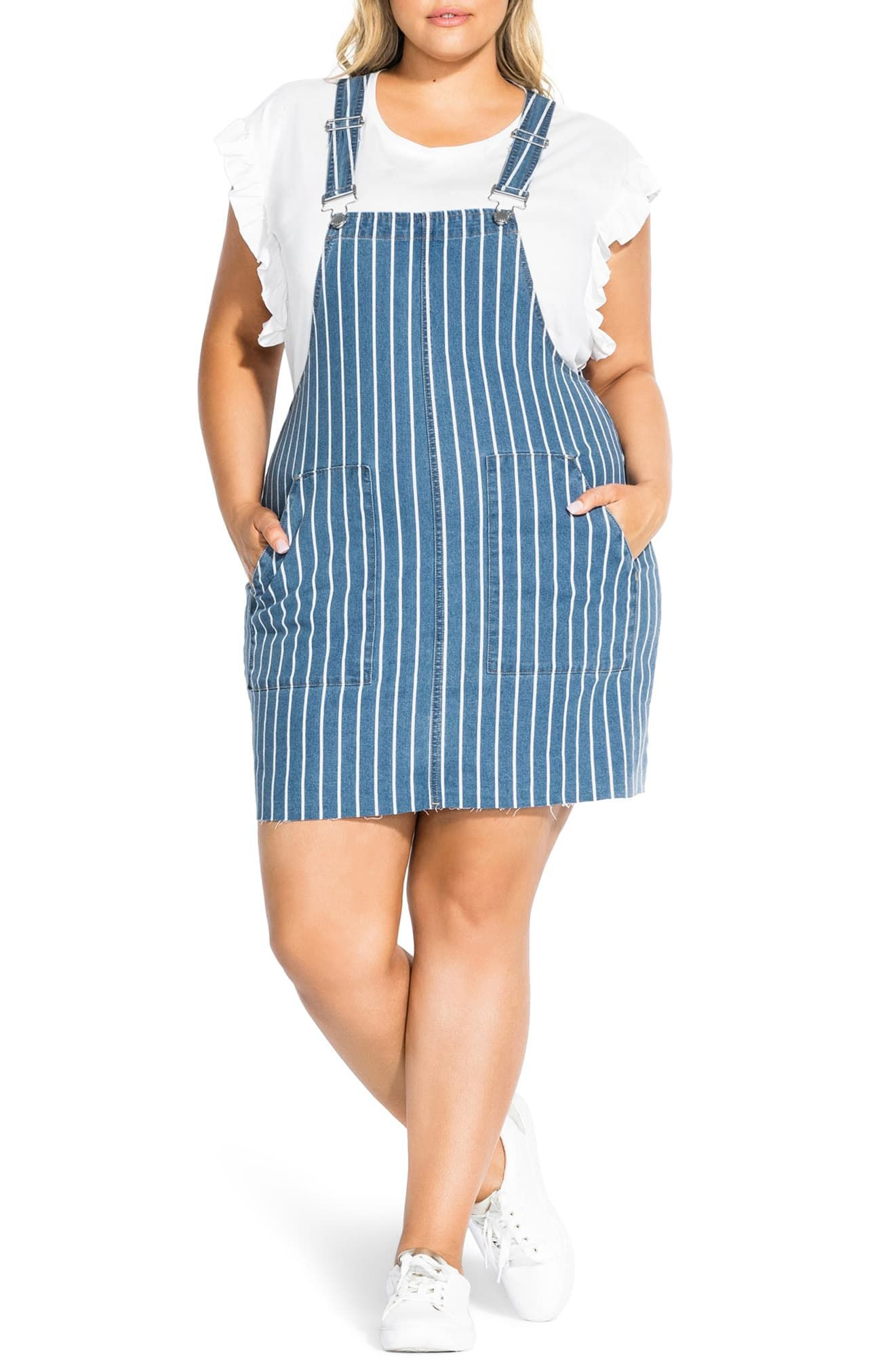 City Chic Stripe Denim Jumper Dress (Plus Size | Denim