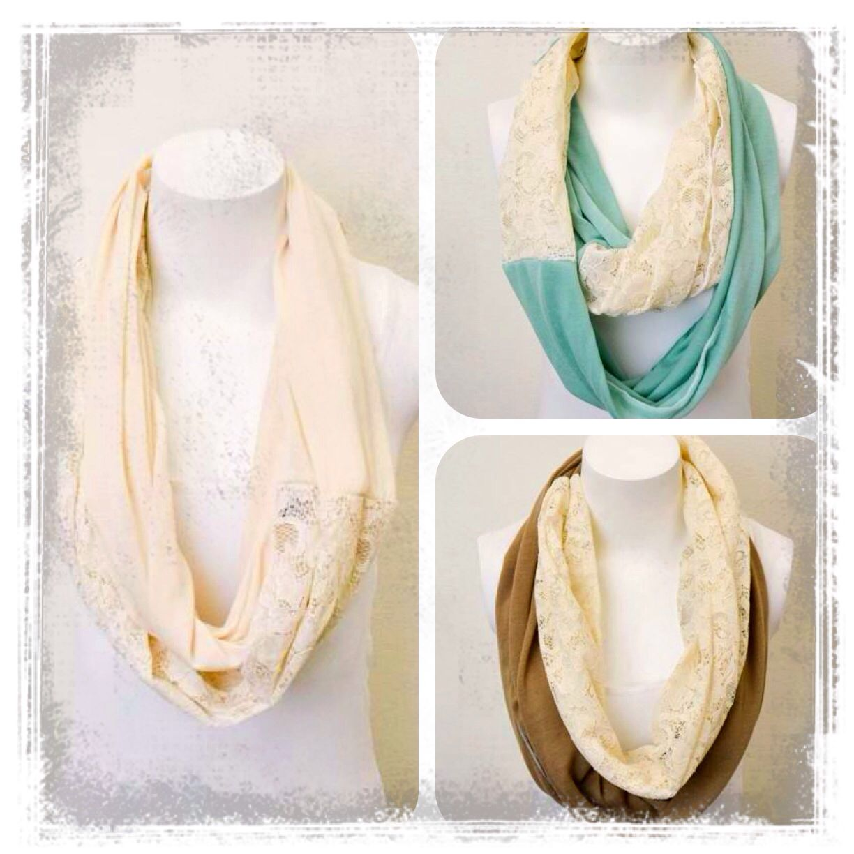 Lace scarves in ivory, mint, and mocha! BTW i LOVE LACE