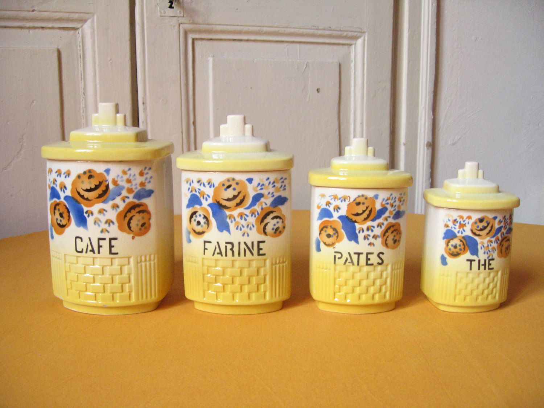 4 pots pices en fa ence bo te de cuisine ancienne en - Faience ancienne cuisine ...