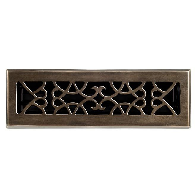 This Antique Br Finish Solid Floor Register Heat Vent Cover With A Victorian Scroll Design Fits 2 X Duct Openings And Adds The Perfect Accent To