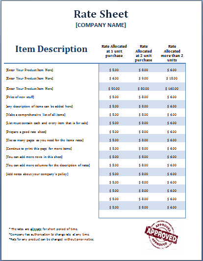 16 rate sheet templates free printable word excel pdf