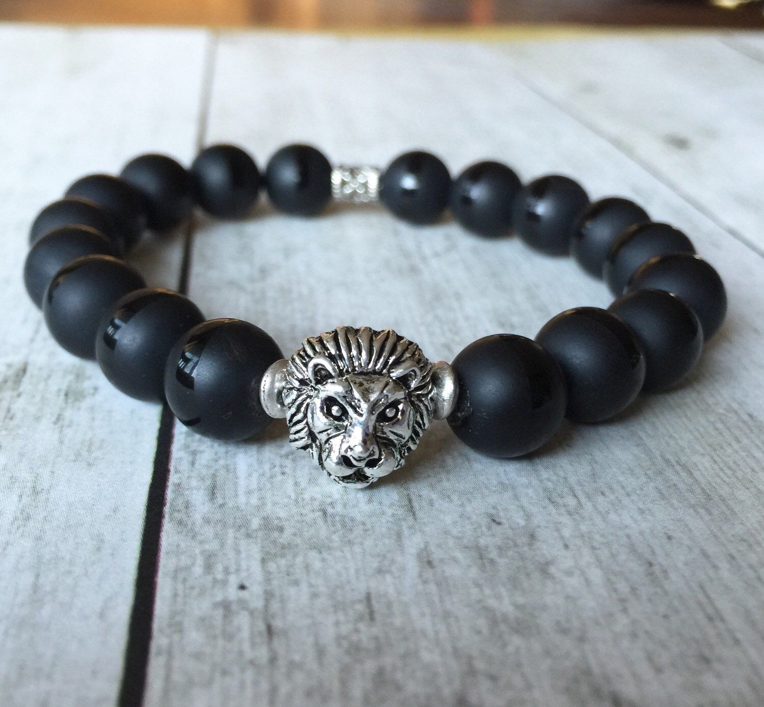 A personal favorite from my Etsy shop https://www.etsy.com/listing/258297587/silver-lions-head-beaded-stretch