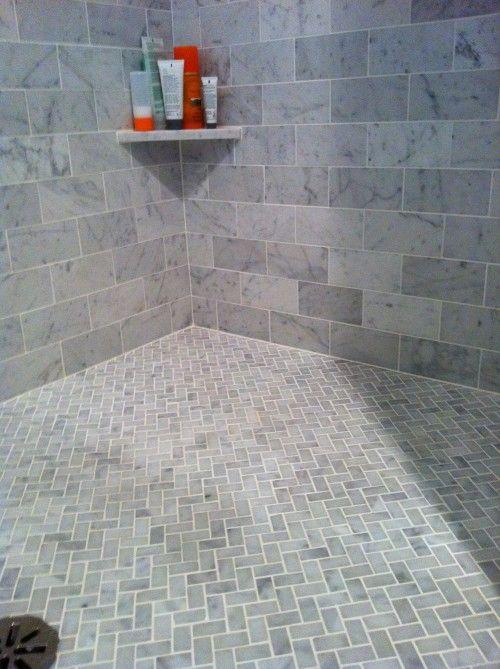 Bath Carrera Marble Subway Tiles On Walls Floor In Carerra Marble In Chevron Or Herringbone Pattern Shower Floor Tile Bathroom Shower Tile Shower Floor