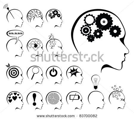 stock vector : brain activity and states icon set