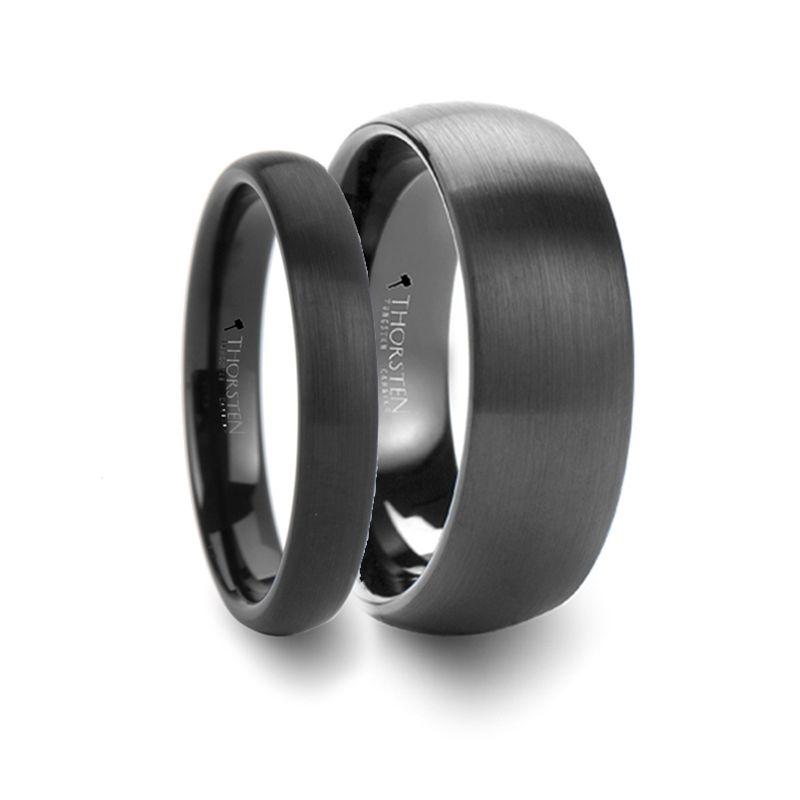 Matching Rings Set Domed Brush Finished Black Tungsten Wedding Band 4mm 8mm Black Tungsten Wedding Band Mens Wedding Bands Tungsten Tungsten Wedding Bands