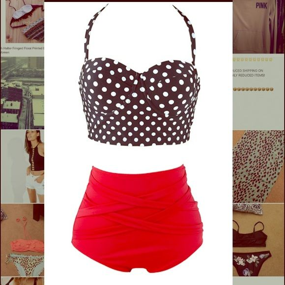 HIGH WAISTED BIKINI SET NWOT  High waisted red swim bottoms and polka dot halter top with removable neck tie straps! Tag says L but fits more like M/L Swim Bikinis