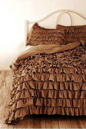 Brown Ruffle Bedding Ruffle Duvet Cover King California King Chocolate Color Egyptian Ruffle Duvet Cover Ruffle Duvet King Duvet Cover